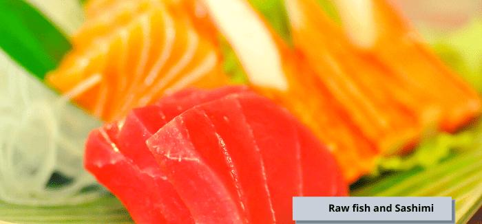 raw fish and sashimi